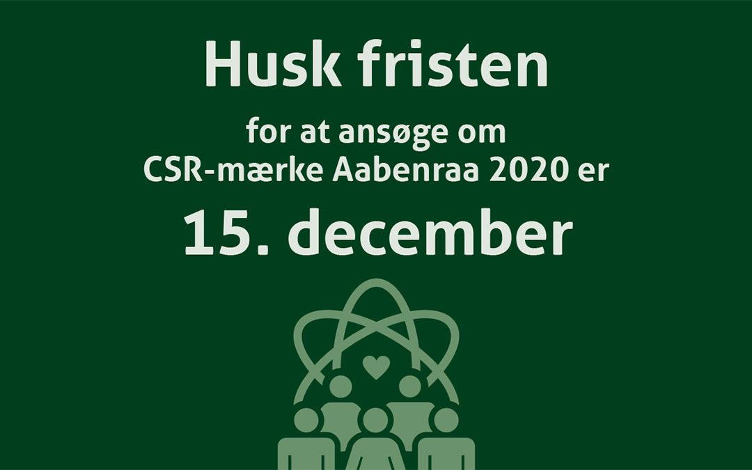 Du kan stadig nå at ansøge om CSR mærket Aabenraa 2020